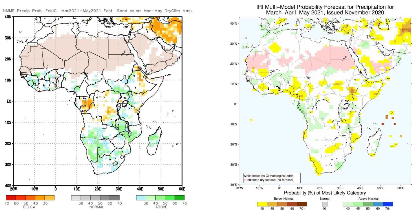Two seasonal forecasts showing the projected most-likely amount of precipitation in March-April 2021: below average (yellow-orange), above average (blue-green), or average (white-grey). Sources: NMME (left) and IRI (right).